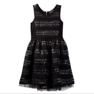 HANNAH BANANA BLACK FAUX LEATHER DRESS NEW